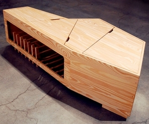 Not available at retailers, this custom-crafted coffin/coffee table by Charles Constantine is functional and elegantly styled.